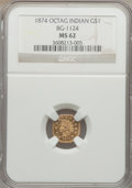 California Fractional Gold, 1874 $1 Indian Octagonal 1 Dollar, BG-1124, High R.4, MS62 NGC....