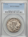 Walking Liberty Half Dollars: , 1916 50C MS63 PCGS. PCGS Population (299/707). NGC Census:(255/538). Mintage: 608,000. Numismedia Wsl. Price for problem f...