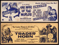 "Movie Posters:Science Fiction, The War of the Worlds & Other Lot (Paramount, 1953). Box Office Cards (4"" X 11""). Science Fiction.. ... (Total: 2 Items)"