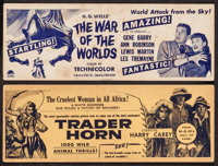"The War of the Worlds & Other Lot (Paramount, 1953). Box Office Cards (4"" X 11""). Science Fiction..."