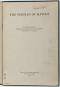 Books:Americana & American History, Romanzo Adams et al. The Peoples Of Hawaii. Honolulu:Institute of Pacific Relations, 1925. Octavo. Forty-two pages....