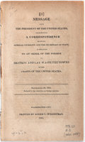 Books:Americana & American History, [James Madison]. Message From the President of the UnitedStates, Transmitting a Correspondence Between AdmiralCockrane...