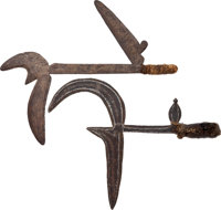 Lot of Three African Ethnographic Knives, Two African Throwing Knives & a Bird's Head Knife