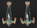 Decorative Arts, French:Lamps & Lighting, A PAIR FRENCH EMPIRE-STYLE PAINTED METAL AND GILT BRONZESEVEN-LIGHT CHANDELIERS . 20th century. 35 inches high x 26 inches... (Total: 2 Items)