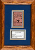 Baseball Collectibles:Tickets, 1926 World Series Game Four Ticket Stub, Ruth Slugs 3 Home Runs,PSA/DNA Good 2....
