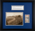 Baseball Collectibles:Tickets, 1923 World Series Game 1 Ticket Stub with Matching Type IPhotograph of Old Yankee Stadium....