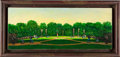 "Baseball Collectibles:Others, 1980's Gregory Gillespie Original ""Baseball Game"" Oil on Wood PlankArt. ..."