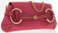 Luxury Accessories:Accessories, Gucci Pink Classic Monogram Canvas Horsebit Clutch Bag with Chain....