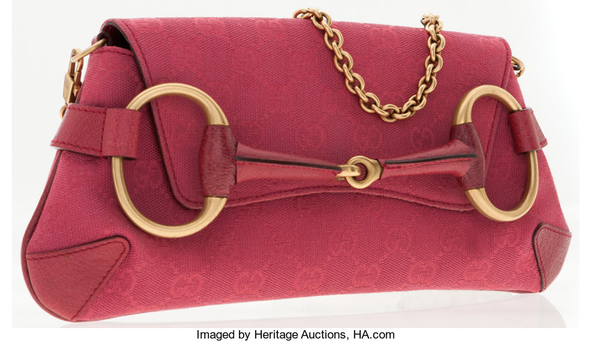 b5643918cae Luxury Accessories:Accessories, Gucci Pink Classic Monogram Canvas Horsebit  Clutch Bag with Chain.