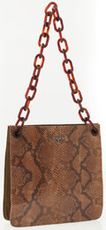 Luxury Accessories:Accessories, Prada Python Tote Bag with Tortoiseshell Chain Strap. ...
