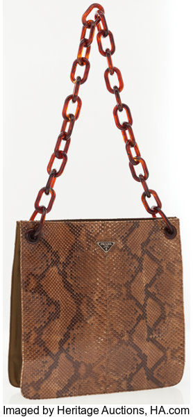 3acddfb49e042c Luxury Accessories:Accessories, Prada Python Tote Bag with Tortoiseshell  Chain Strap.