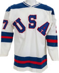 """Hockey Collectibles:Uniforms, 1980 Phil Verchota """"The Miracle on Ice"""" Game Worn USA Olympic Hockey Jersey...."""