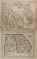 Books:Maps & Atlases, [Maps]. Samuel Augustus Mitchell. Two County Maps DepictingAlabama, Georgia, Florida and the Carolinas. 1867. Each meas...