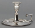 Silver Holloware, British:Holloware, A CROUCH & HANNAM SILVER CHAMBER STICK. John Crouch, London,England, circa 1788. Marks: (lion passant), (leopard head),n...