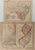 Books:Maps & Atlases, [Maps]. Two Maps Depicting Maryland, Delaware, New Jersey andPennsylvania. One drawn by Samuel Augustus Mitchell. 1867. Var...