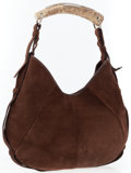 Luxury Accessories:Accessories, Yves Saint Laurent by Tom Ford Brown Suede Mombasa Horn Hobo Bag . ...