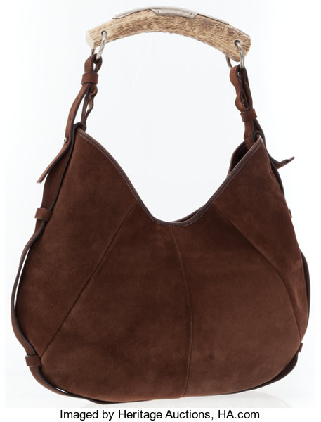 c71c353a9a Yves Saint Laurent by Tom Ford Brown Suede Mombasa Horn Hobo Bag ...
