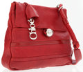 Luxury Accessories:Accessories, Chloe Red Leather Shoulder Bag with Silver Chloe Charm . ...