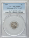 Three Cent Silver: , 1853 3CS -- Cleaned -- PCGS Genuine. UNC Details. NGC Census: (2/571). PCGS Population (6/649). Mintage: 11,400,000. Numism...