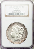 Morgan Dollars, 1886-S/S $1 VAM-2, Top 100, MS62 Prooflike NGC. NGC Census: (3/16). PCGS Population: (4/12). MS62. ...