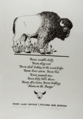 Miscellaneous:Broadside, Gary Snyder. SIGNED/LIMITED. Bison Rumble-Belly. Picture byBob Giorgio. 1979. Number 33 out of 50. Signed by both...