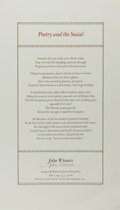 Miscellaneous:Broadside, John Wieners. SIGNED/LIMITED. Poetry and the Social. NewHampshire: John LeBow, 1997. Copy number 63 of 100. Broadsi...