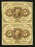 Fractional Currency:First Issue, Fr. 1230 5¢ First Issue Uncut Vertical Pair Very Fine.. ...