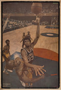 """Basketball Collectibles:Photos, 1969-70 Milwaukee Bucks Team Signed """"Sports Illustrated"""" VintagePoster - With Rare """"Lew Alcindor"""" Rookie Exemplar!..."""