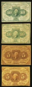 Fractional Currency:First Issue, Fr. 1230 5¢ First Issue Two Examples Fine. Fr. 1242 10¢ First Issue VG; Fine.. ... (Total: 4 notes)