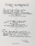 Miscellaneous:Broadside, Philip Whalen. SIGNED. Three Mornings. Broadside measuring12.5 x 9.2 inches. Fine. . ...