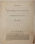 Books:Americana & American History, [Abolition]. Pseudonymous Anti-Slavery Tract, Circa 1860. N.p.,n.d., circa 1860. Dedicated to the Hon. Martin J. Crawford, ...