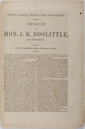 Books:Americana & American History, [Slavery]. [States' Rights]. J. R. Doolittle. Courts Cannot Change the Constitution. Speech of Hon. J. R. Doolittle, of ...