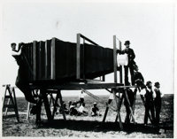 """[American Heritage Archives]. Photographic Reprint Depicting Photographers Standing Around George Lawrence's """"Giant..."""