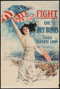 "Movie Posters:War, World War I Propaganda (Forbes, 1918). Poster by Howard ChandlerChristy (20"" X 30"") ""Fight or Buy bonds, Third Liberty Loan..."