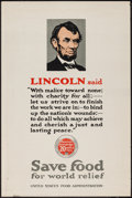 "Movie Posters:War, World War I Propaganda (U.S. Food Administration, 1918). Poster(20"" X 30"") ""Lincoln Said..."" War.. ..."