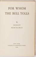 Books:Literature 1900-up, Ernest Hemingway. For Whom the Bell Tolls. New York:Scribner's, 1940. First edition, later printing. Publisher's bi...