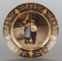 A GERMAN HAUSMALER PAINTED PORCELAIN PLATE: WICHT GEHEIMNISS Circa 1875 Marks: (shield)