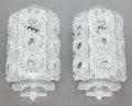 Art Glass:Lalique, A PAIR OF LALIQUE FROSTED GLASS AND CHROME SEVILLE WALLSCONCES. Post 1945. Marks: LALIQUE, FRANCE. 15-1/2 i...(Total: 16 Items)