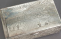 Asian:Chinese, AN ASIAN SILVER HINGED LIDDED HUMIDOR BOX. Early 20th century.Marks: (chop marks). 3-1/2 x 10-1/4 x 6-1/4 inches (8.9 x 26....
