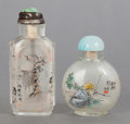Asian:Chinese, TWO CHINESE REVERSE PAINTED GLASS SNUFF BOTTLES. 20th century.Marks: (chop marks). 3 inches high (7.6 cm) (taller). ... (Total: 2Items)
