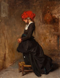 Fine Art - Painting, European:Antique  (Pre 1900), ALEXANDRE-MARIE GUILLEMIN (French, 1817-1880). The PrayingPeasant Girl. Oil on panel. 9-1/2 x 7-1/2 inches (24.1 x19.1...