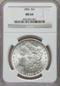 Morgan Dollars: , 1890 $1 MS64 NGC. NGC Census: (4132/305). PCGS Population(3646/440). Mintage: 16,802,590. Numismedia Wsl. Price forproble...