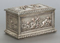 Silver Smalls, A CONTINENTAL SILVERED COPPER REPOUSSÉ TABLE BOX. Early 20thcentury. Marks: STERLING SILVER. 3-3/4 x 6 x 3-1/2 inches(...
