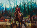 Fine Art - Painting, American:Contemporary   (1950 to present)  , DEAN COLICHIDAS (American, 1923-1994). Hunting Scene. Oil oncanvas. 30 x 40 inches (76.2 x 101.6 cm). Signed lower left...