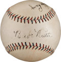 Autographs:Baseballs, 1929 Babe Ruth, Lou Gehrig & Earle Combs Signed Baseball....