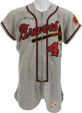 Baseball Collectibles:Uniforms, 1962 Eddie Mathews Game Worn Milwaukee Braves Jersey, MEARS A10....