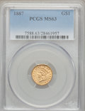 Gold Dollars: , 1887 G$1 MS63 PCGS. PCGS Population (127/294). NGC Census:(64/253). Mintage: 7,500. Numismedia Wsl. Price for problem free...
