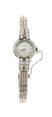 Tessco 14k White Gold & Diamond Lady's Wristwatch