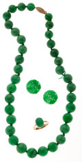 Estate Jewelry:Suites, Jadeite Jade, Gold Jewelry . ... (Total: 3 Items)