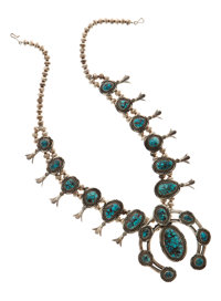 Turquoise, Silver Squash Blossom Necklace, Navajo